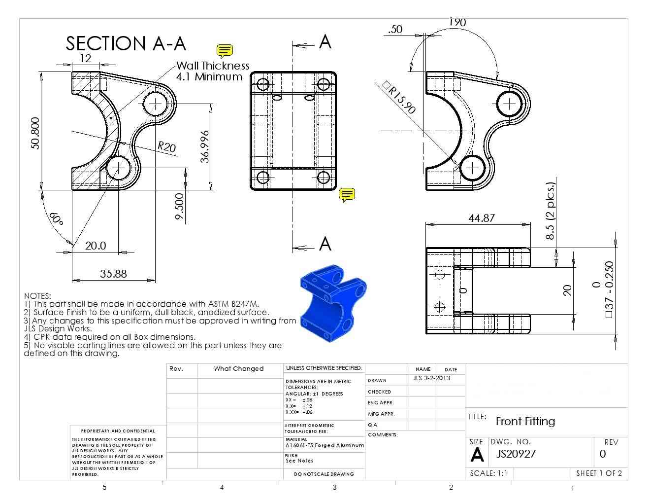 Precision Machining Part 3D Drawing